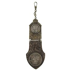 Vintage unusual long Watch Fob and short chain with 1940's coins and mermaid design