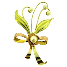 Signed Harry Iskin 1/20 12KT gold filled two tone floral Brooch with imitation pearls