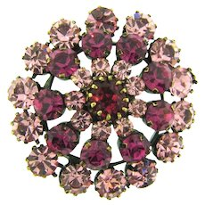 Marked Made in Austria tiered Brooch in shades of pink rhinestones