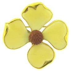 Vintage flower Brooch with enamel petals