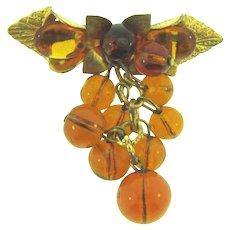 Vintage dangling amber glass beaded Brooch