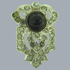 Vintage Art Deco patent dated to 1930's small Dress Clip with crystal rhinestones and black cabochon