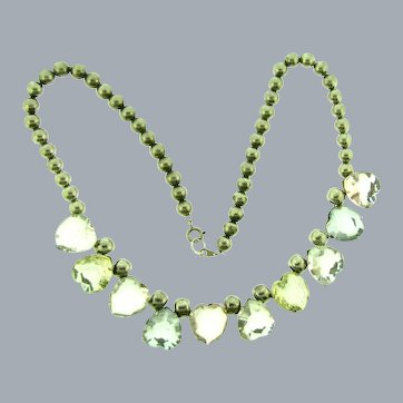 Vintage silver tone beaded Necklace with Lucite hearts