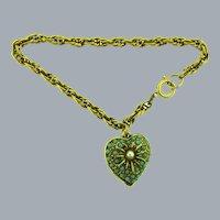 Vintage gold tone chain Bracelet with heart pendant