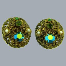 Marked W Germany gold tone clip-on Earrings with AB rhinestones and faux pearls