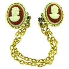 Vintage Sweater Guard with faux plastic cameos