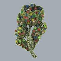 Vintage pot metal flower Brooch with multicolored rhinestones