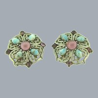 Vintage silver tone clip-on Earrings with mauve and mottled blue glass cabochons