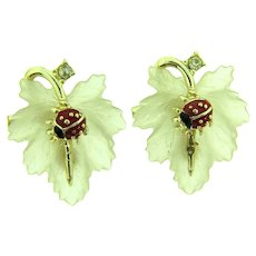 Vintage pair of Lucite leaves Scatter Pins with crystal rhinestones and enamel ladybugs