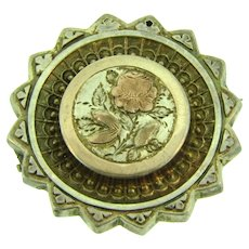 Marked sterling silver Birmingham, England vintage circular Brooch with floral design