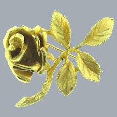 Signed Ledo 1963 gold tone rose Brooch