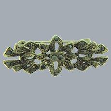 Vintage silver tone Brooch with black rhinestones