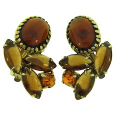 Vintage 1960's clip-on earrings in dark topaz rhinestones