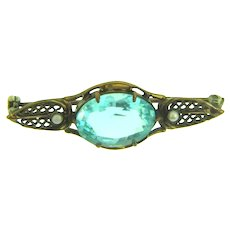 Vintage small gold tone Brooch with light blue glass stone and faux pearls