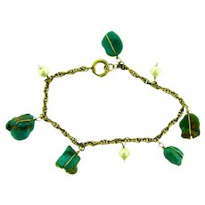 Marked gold filled chain link Bracelet with turquoise stones and pearls