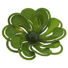Vintage 1960's enamel on metal flower Brooch in avocado green color