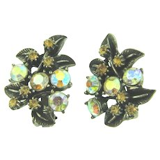 Signed Florenza large floral clip-on Earrings with AB rhinestones