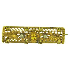 Vintage early gold tone Bar Pin with topaz rhinestones and faux seed pearls