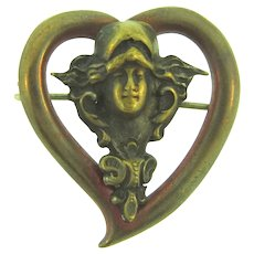 Vintage early unusual small Art Nouveau Brooch with woman's head