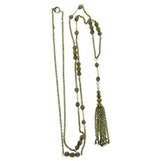 Vintage fine gold tone chain link Necklace with purple beads and tassel