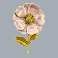 Vintage enamel on copper flower Brooch with pink pearlized petals