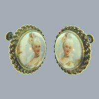 Vintage transfer print on porcelain screw back sterling vermeil Earrings