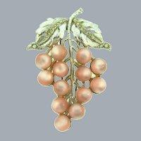 Vintage grape cluster design Fur Clip with crystal rhinestones