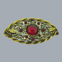 Marked Made in Germany gold tone Brooch with red cabochon and beads