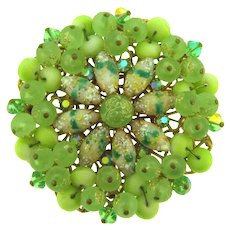 Vintage large circular Brooch with rhinestones, Lucite and porcelain beads
