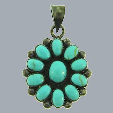 Marked 925 sterling silver with turquoise stones  Pendant