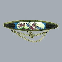 Vintage oval silver tone Bar Pin with enamel bird design and dangling chains