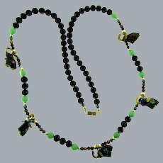 Vintage beaded Necklace with onyx, jade, jasper and gold tone beads and cloisonne elephant charms