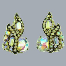 Signed Hollycraft COPR 1955 clip-on Earrings with AB rhinestones