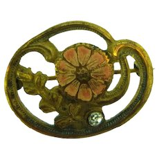 Vintage Art Nouveau small Scatter Pin with floral design and paste stone