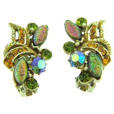 Signed Florenza colorful clip-on Earrings