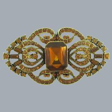 Vintage gorgeous large Brooch with topaz rhinestones