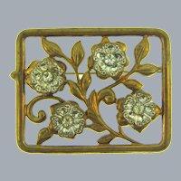 Vintage cut out floral Brooch with crystal rhinestones