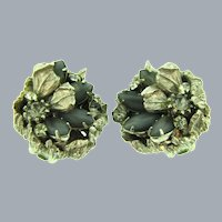Signed DeMario silver tone clip-on Earrings with gray and crystal rhinestones