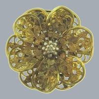 Vintage gold tone filigree floral Dress Clip