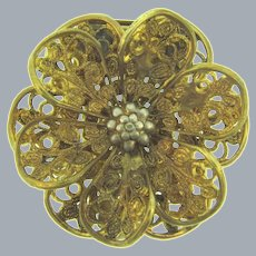 Vintage gold tone filigree floral Dress Clip