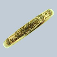 Vintage gold filled early Bangle Bracelet with repousse design