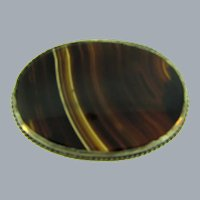 Antique large banded agate Brooch in sterling silver frame