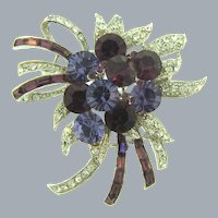 Signed WD (Whiting and Davis)  gorgeous corsage rhinestone Brooch