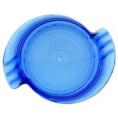 Art Deco cobalt blue glass Ashtray