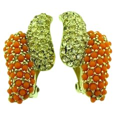 Vintage clip-on Earrings coral colored beads and citrine rhinestones