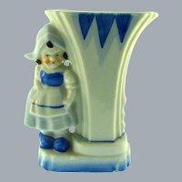 Marked Japan vintage mid Century ceramic Dutch girl Vase