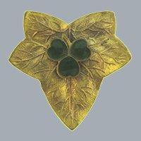 Vintage gold tone figural leaf Brooch with green enamel shamrock