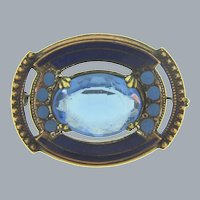 Vintage early smaller Brooch with blue glass stone and enamel