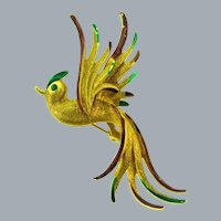 Vintage figural gold tone Bird in flight Brooch with enamel and rhinestone