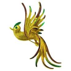 Vintage figural gold tone Bird in flight Brooch with enamel and rhinestone